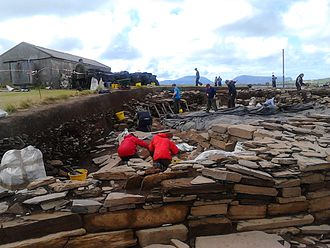 Ness of Brodgar - This image taken in July 2016 shows archaeologists at work on structure 10.