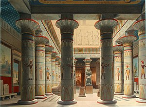 Egyptian Museum of Berlin - Egyptian courtyard at the Neues Museum, lithograph by Eduard Gaertner (1862)