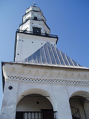 Lightning rod - Nevyansk Tower in Russia crowned with a metallic rod grounded through a complex system of rebars (some are seen at the basement)