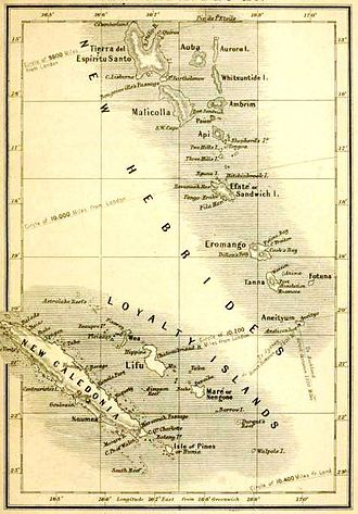 John Geddie (missionary) - Early map of New Hebrides in South Sea