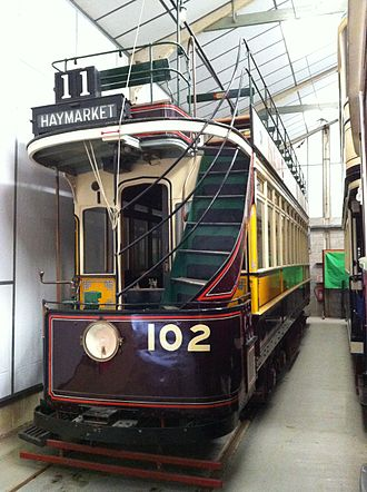 Newcastle Corporation Tramways - Tramcar 102 preserved at the National Tramway Museum