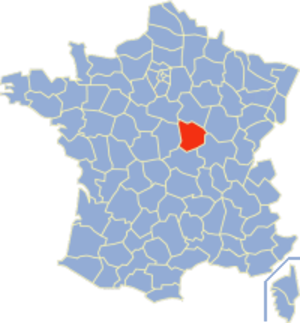 Communes of the Nièvre department - Image: Nièvre Position