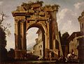 Niccolò Codazzi (Attr.) and Jacob de Heusch (follower) - Architectural Capriccio, with the Arch of Titus and the Figures of Travellers.jpg