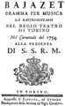 Niccolò Jommelli - Bajazet - title page of the libretto - Turin 1754.png