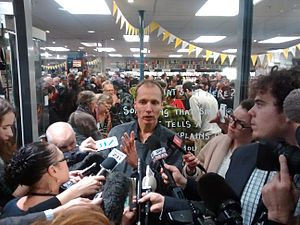 Nicky Hager - Hager speaking to journalists outside the launch of Dirty Politics