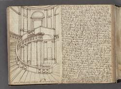 Håndskrift fra 1688.   På venstre idé en skitse over et interiør.   Højre side indeholder håndskreven tekst.
