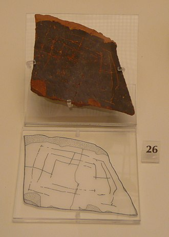 Nine men's morris - Clay tile fragment from the archeological museum at Mycenae showing what appears to be a Nine Men's Morris board