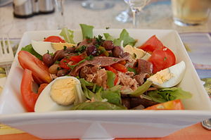Salade niçoise - Traditional version served at a French Riviera restaurant