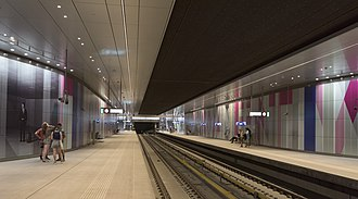 The Amsterdam Metro is a mixed subway and above ground rapid transit system consisting of five lines. NoordZuidLijn Metrostation Europaplein hnapel 004.jpg