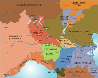 Sister republic - Image: Norditalien 1796