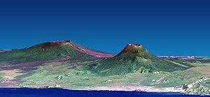 Nyiragongo (à direita) e Nyamuragira(à esquerda). Escala vertical exagerada.