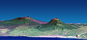 Mount Nyiragongo - Nyamuragira (left) and Nyiragongo (right). Vertical scale exaggerated (1.5x).