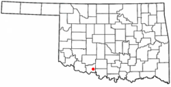 Location of Temple, Oklahoma