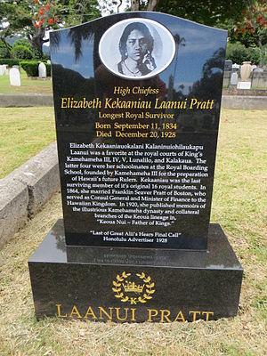 Elizabeth Kekaaniau - Gravestone at Oahu Cemetery