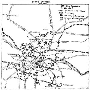 Battle of Lwów (1939) - Sketch showing the Polish defences around September 13