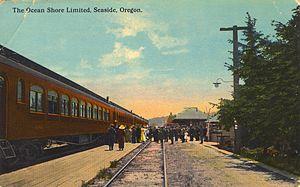 Seaside, Oregon - Ocean Shore Limited railroad at Seaside, Oregon ca. 1910