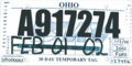 Ohio temporary license plate, Ford (February 2002).png