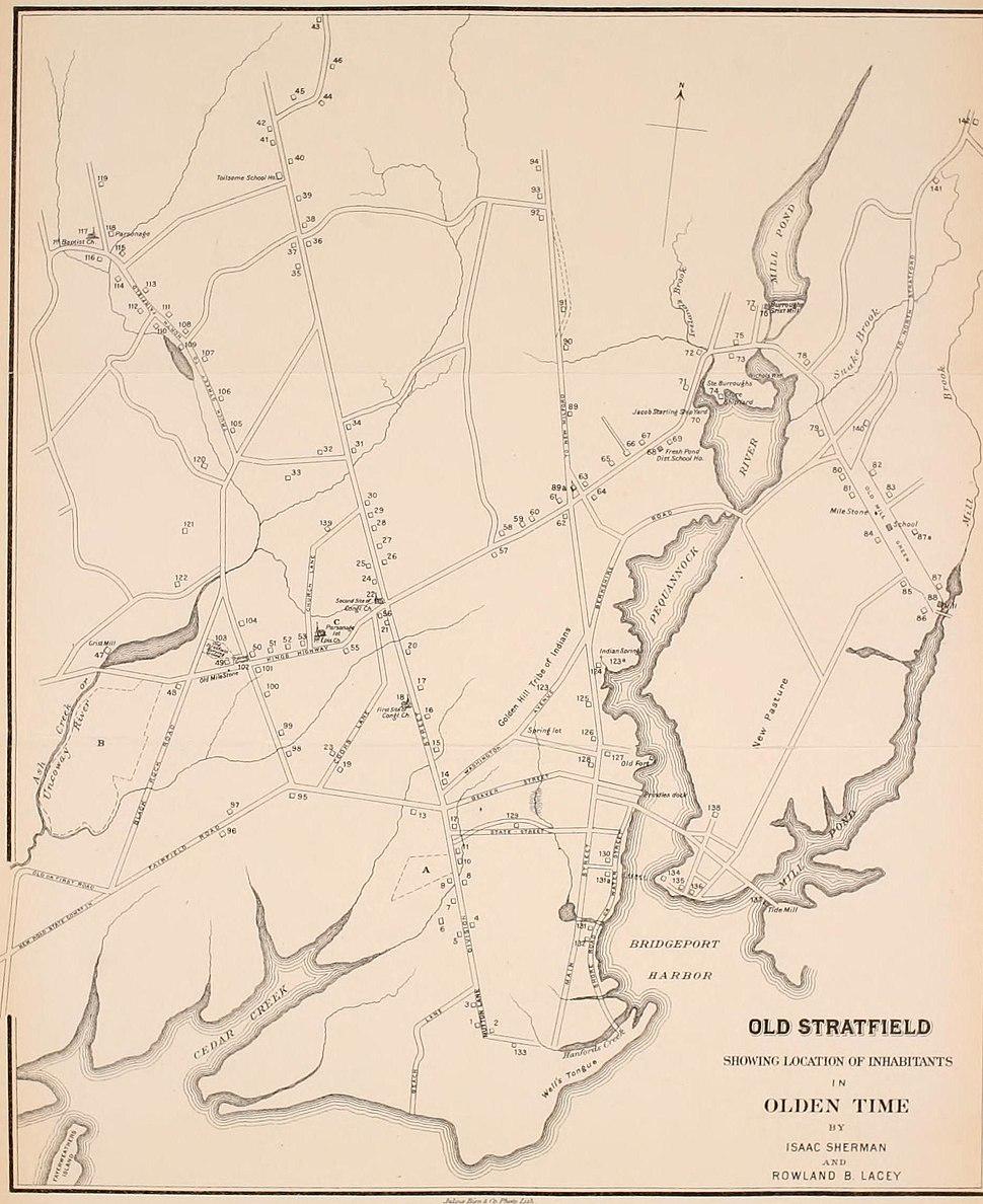 Old Stratfield (Bridgeport) Map before 1886
