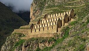 Ollantaytambo District - Ruins of granaries on the hillside over Ollantaytambo.