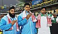 Om Prakash Singh of India won Gold Medal, Jasdeep Singh of India won Silver Medal and Muhammad Waseem of Pakistan's won Bronze Medal in the men's shot put event, at 12th South Asian Games-2016, in Guwahati.jpg