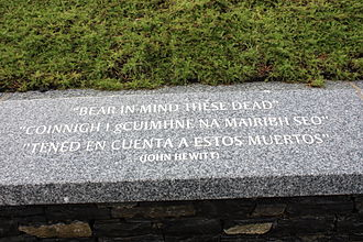 John Hewitt (poet) - Omagh Bomb Memorial (Garden of Light), Drumragh Avenue, Omagh, County Tyrone, Northern Ireland