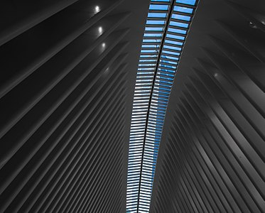 One World Trade Center viewed from the interior of the Oculus.