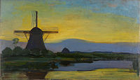 Oostzijde windmill at night, by Piet Mondriaan.jpg