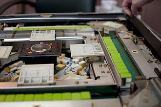 Mahjong - Interior of an automatic mahjong table.