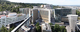 The OHSU campus sits atop Marquam Hill.