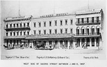 Historical drawing of Orleans Hotel.