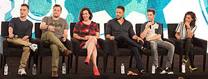 Orphan Black - Orphan Black cast members, from left to right: Ari Millen, Kristian Bruun, Maria Doyle Kennedy, Dylan Bruce, Jordan Gavaris, and Tatiana Maslany.