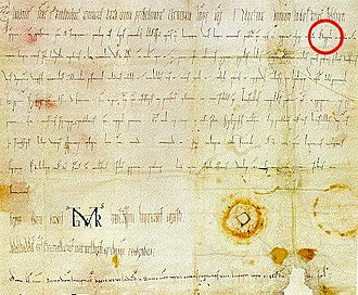 "Austrians - The first document containing the word ""Ostarrîchi"", the word is marked with a red circle."