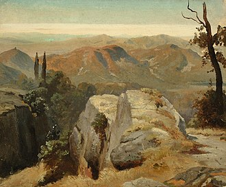 Oswald Achenbach - Study from Upper Italy, 1845, oil on paper mounted on cardboard. This study was made during Achenbach's 1845 trip to Northern Italy.