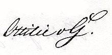 Signatur Ottilie von Goethes. (Quelle: Wikimedia)