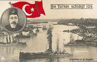"Diplomatic history of World War I - A German postcard of the Ottoman Navy early in the war. The caption reads ""Turkey gets going"". The portrait shows Sultan Mehmed V."