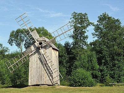 Wooden windmill from Trzęsówka in Museum of Folk Culture in Kolbuszowa