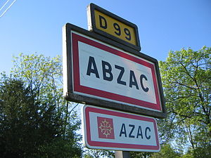 Abzac, Charente - Abzac street sign in April 2011