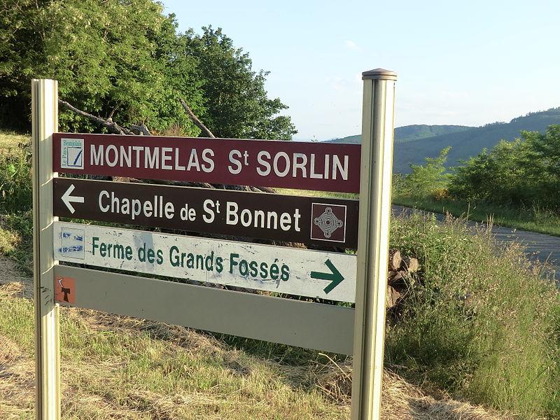 Panneau au col de Saint-Bonnet (Rhône).