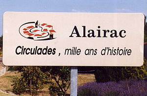 Alairac - Sign at the entrance of the village