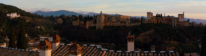 Panorama of the Alhambra, the Generalife palace and Sierra Nevada as seen from the terrace of the Albaicin mosque.