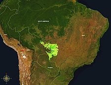 The extent of the Pantanal in Brazil, Bolivia, and Paraguay.