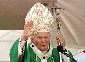 Crosier - Pope John Paul II holding the Papal ferula, 5 October 1997