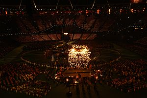 2012 Summer Paralympics closing ceremony - The Sun God rises in the stadium.