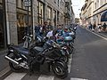Parked motorcycles on Via Sant'Andrea, Milan.jpg
