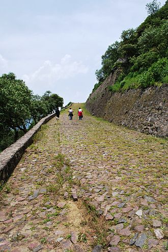 Teotenango - less than half of the path leading to the site from the valley below