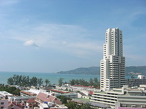 View of Patong Beach, with condominium tower.