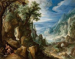 Paysage montagneux avec Saint Jérôme