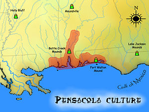 Pensacola culture - Geographic extent of Pensacola culture and some of its important sites as well as other important contemporaneous sites
