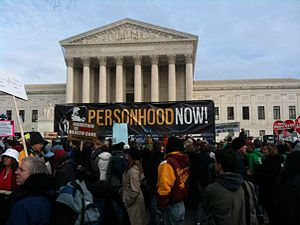 Personhood Now! banner in front of the United ...