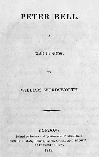 Peter Bell (Wordsworth) - First edition title page